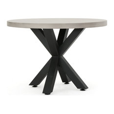 Sia Outdoor Modern Lightweight Concrete Circular Dining Table with Cross Base
