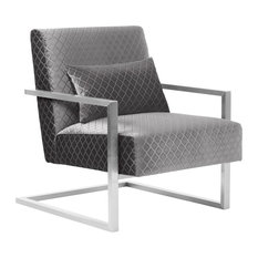 Armen Living - Skyline Contemporary Accent Chair, Gray Velvet With Silver Steel Finish - Armchairs and Accent Chairs