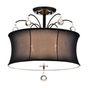 4-Light Black Fabric Drum Shade Semi Flush Mount Chandelier With Crystals