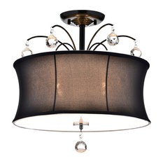 Flush mount ceiling lights with a black shade for your home houzz edvivi llc black drum shade crystal semi flush mount chandelier 4 light fixture flush mozeypictures Image collections