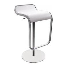 Lem Piston Barstool White Leather Tall