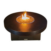 Hammered Copper Round Fire Pit Table, 48x18, Propane