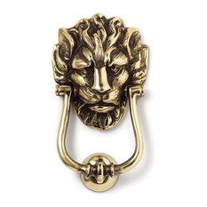 Jefferson Brass Company   Downing Street Lion Door Knocker, Polished   Door  Knockers