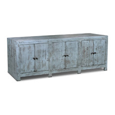 """Crafters and Weavers - Rustic Farmhouse-Style Solid Wood Macao Media Console, 80"""" - Media Cabinets"""