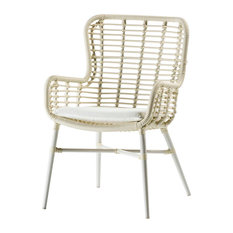 Curved Rattan Dining Chair With Arms, White