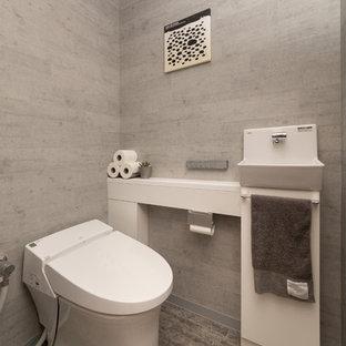 Cette photo montre des WC et toilettes scandinaves avec un placard à porte plane, un mur gris et un sol gris.