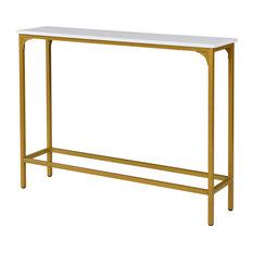 Stellan Slim Console Table, White/Gold
