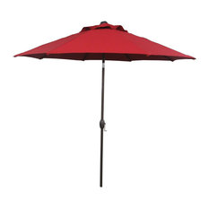 Abba Market Outdoor Umbrella With Auto-Tilt and Crank, Dark Red