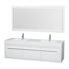 "72"" Double Acrylic Bathroom Vanity Set in Gloss White"