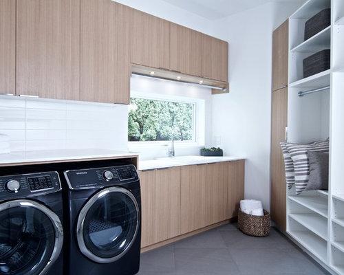 Foto e idee per lavanderie lavanderia moderna con pavimento con