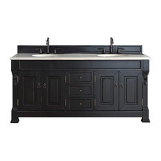 "James Martin Furniture - Brookfield 72"" Double Cabinet, Antique Black, 2CM Galala Beige Stone Top - Bathroom Vanities and Sink Consoles"