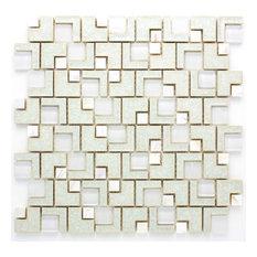 "11.88""x11.88"" Serena Crackle-Glass Mosaic Tile Sheet, White"