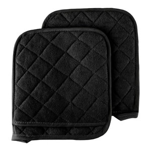 2 Piece Oversized Heat Resistant Quilted Cotton Pot Holders, Black