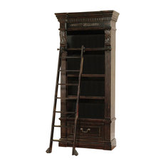 Parker House Grand Manor Palazzo Museum Bookcase With Ladder, Burnished Black