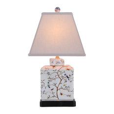 East Enterprises INc   Perching Birds Square Porcelain Table Lamp   Table  Lamps