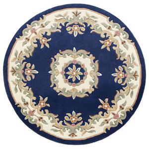 Mahal Aubusson Rug, Blue, 120 cm Round