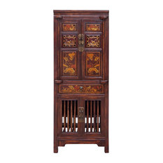 Golden Lotus Antiques   Chinese Brown Narrow Wood Carving Storage Hutch  Cabinet Hcs1515   China Cabinets