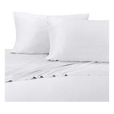 Bamboo Cotton Blend Silky Hybrid Sheet Set, White, King