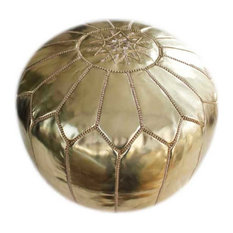 Unstuffed Gold Moroccan Pouf, Gold