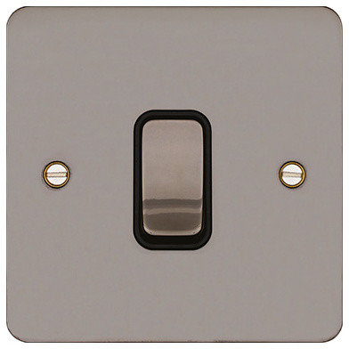 Trendy Light Switches: Hager 10AX 1 Gang 2 Way Wall Light Switch (Black Nickel & Black) -,Lighting
