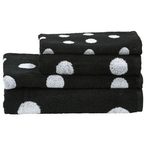 Dots Towel Collection, Black and White, Set of 4