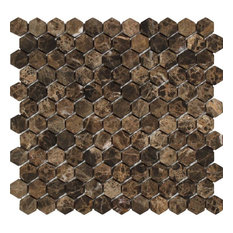 Emperador Dark Spanish Marble Hexagon Mosaic, 1 X 1 Tumbled