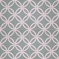 Amlo Handmade Cement Tile, Green, White, Set of 12