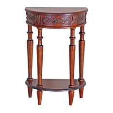 Bowery Hill Half Moon Console Table In Dual Walnut Stain
