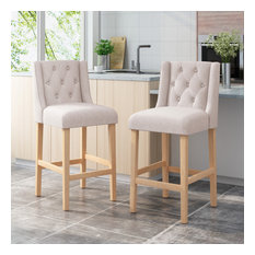 Joyce Button Tufted Fabric Wingback Bar Stool Set Of 2 Beige/Natural