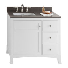 "Ronbow Hampton Solid Wood 36"" Vanity Cabinet Base, White, Door on Left"