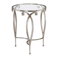 Round Glass Top Table Silver Finish