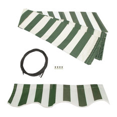 Waterproof Fabric for Retractable Patio Awning, Green, White, 13'x10'