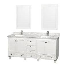 "Acclaim White Double Vanity, 24"" Mirrors, 72"", Square, White Carrera Marble"
