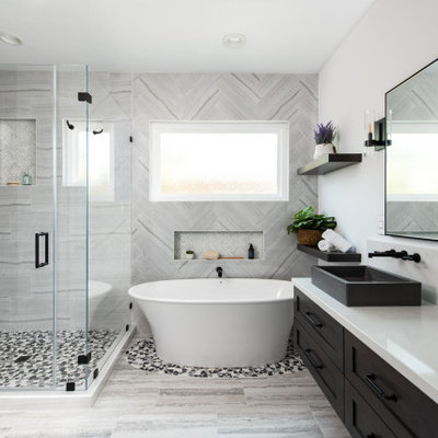 Inspiration for a transitional bathroom remodel in Orange County