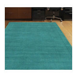 York York-Teal Rectangle Plain/Nearly Plain Rug 60x120cm