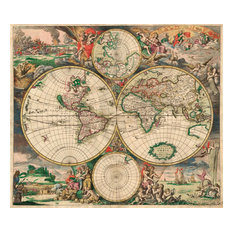 """World Map 1689"" Art Print on Canvas by , 20""x17.5"""
