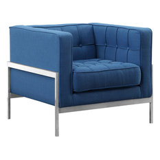 Armen Living - Armen Living Andre Tufted Accent Chair, Blue and Brushed Silver - Armchairs and Accent Chairs