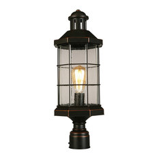 1x60W Outdoor Post-Light w/ Oil Rubbed Bronze Finish and Clear Seeded Glass by E