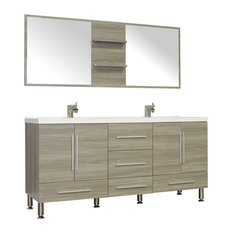 "Homedesignoutletcenter - Double Modern Bathroom Vanity, Gray, 67"" - Bathroom Vanities and Sink Consoles"