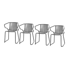dal segno design - Valentina White Outdoor Chairs, Black, Set of 4 - Garden Dining Chairs