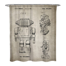 """Oliver Gal """"Toy Robot, 1982, Gray"""" Shower Curtain, 71""""x74"""""""