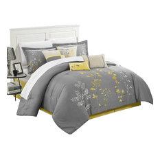 Brooke Bliss Garden Embroidered 8-Piece Comforter Set, Queen Yellow