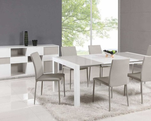 Beautiful Extendable Glass Top Leather Italian Dining Table And Chair Sets   Dining  Tables