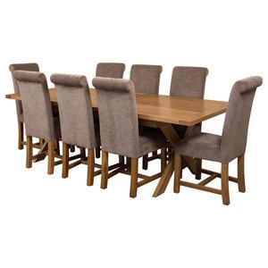 Vermont Oak Extending Table, 8 Washington Chairs, 2-2.4 m, Grey Velvet Effect