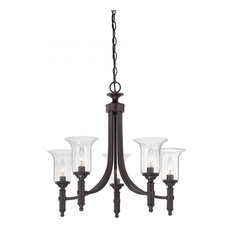 Joshua Marshal - Five Light English Bronze Seeded Glass Up Chandelier -  Chandeliers
