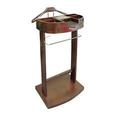 Proman Products - Proman Products Crescent Moon Valet in Dark Walnut - Clothing Valets and Suit Stands