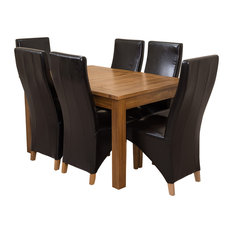 Cotswold Rustic Oak Extending Dining Table, 6 Lola Chairs, Black Leather