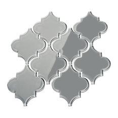 Glass Arabesque Tile, True Gray, Case of 11