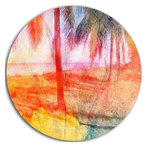 Designart MT14070 C23 Taiwan Township with Red Trees Landscape Circle Wall Art Disc 23 x 23 Red