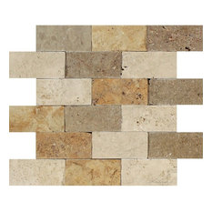 Mixed Travertine Brick, Ivory, Noce, Gold, 2x4, Split-Faced Mosaic Tiles